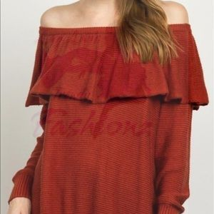 Knit Off The Shoulder Sweater BRICK